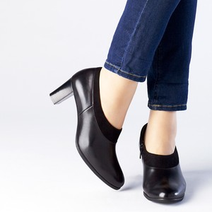2017 A/W Ankle Bootie Material Switching Thick Heel