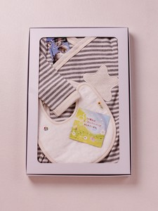 Stripe Kimono Romper & Toweling Bib Box Set【organic cotton 100%】