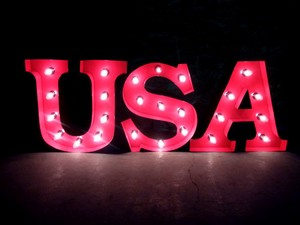 AMERICAN SIGN WITH LIGHT「USA」(ブリキ製電飾看板)
