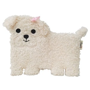 Flat Puppy Pouch・ Toy Poodle / A plush zipper-top White Poodle-shaped pouch