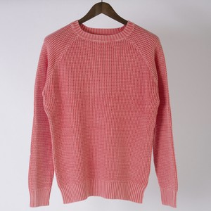 Waffle Crew Neck Long Sleeve Knitted