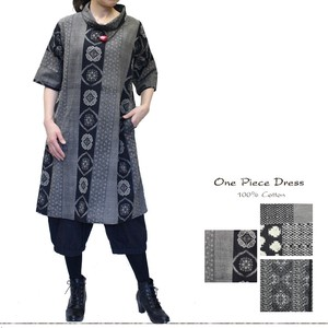 Japanese Pattern Dyeing Cotton Roll Color One-piece Dress