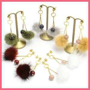 Round Beads Mink Fur Pierced Earring