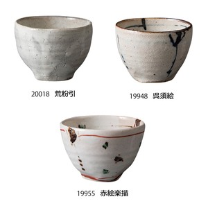 Japanese Tea Cup Pottery Kohiki Gosu Red Drawing