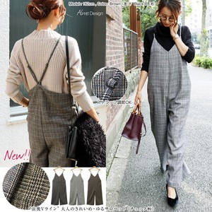 2017 A/W Overall Ladies Checkered Wool wide pants All-in-one