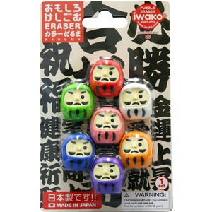 IWAKO Color Daruma Blister Pack Eraser