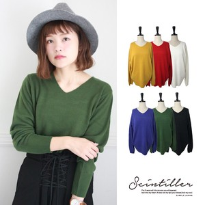 A/W V-neck Knitted Pullover Basic