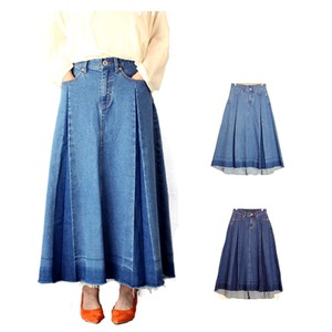 Skirt Denim Pleats Fringe