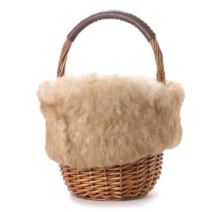 Rabbit fur Flap Attached Round Bag