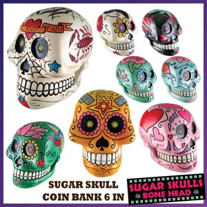 Halloween Sugar Skull Piggy Bank Skeleton Skull