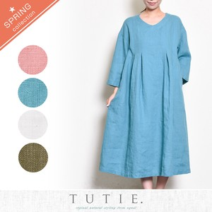 French Linen Tuck One-piece Dress