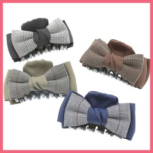 Checkered Double Ribbon Hair Ban Clip