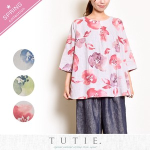 Tint Flower Print Tuck Wide Blouse