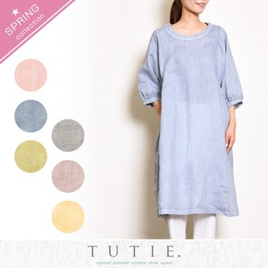 Linen Dyeing Wide One-piece Dress