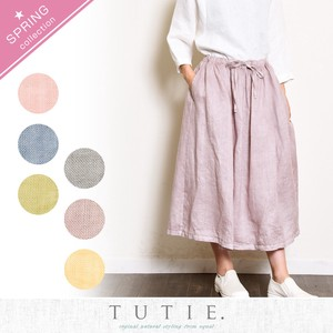 Linen Dyeing Gather Skirt