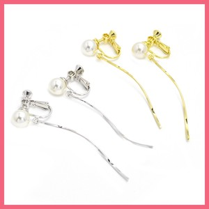 Pearl Wave Metal Stick Earring
