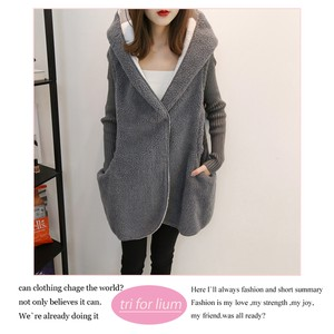 Knitted Fluffy Material Switch Design Jacket