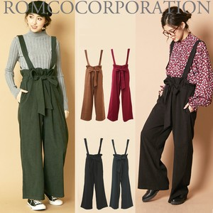 Peach Skin Suspender Attached High-waisted wide pants