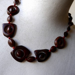 Natural Material Wood Beads Design Necklace