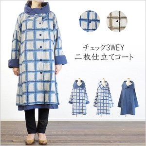 2017 A/W Checkered 3WAY Tailoring Coat Natural Leisurely