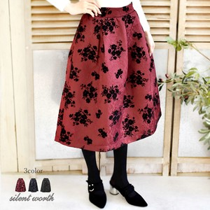 2017 A/W Floral Pattern Flocky Pearl Tuck Skirt