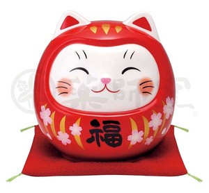 Happiness Ornament Interior Good Luck Cat Daruma Piggy Bank