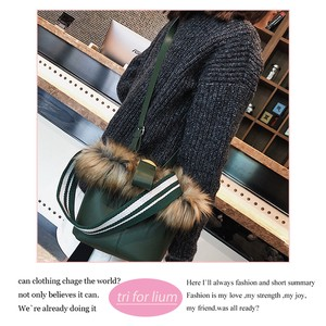 Fake Fur Synthetic Leather Material Bucket Bag