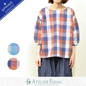 Dobby Colorful Checkered Gather Blouse