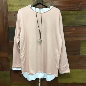 Early Spring Fleece Long Sleeve T-shirt Necklace Ensemble