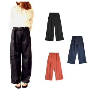 wide pants Straight Belt Attached