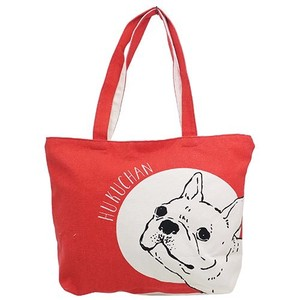 Hufuchan Face Zipper Top Horizontal Canvas Tote