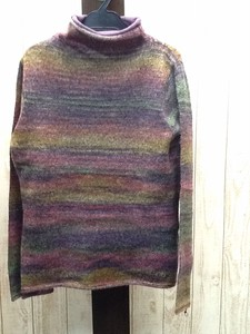 Popular 2017 A/W Ensemble 1Pc Border Mohair Mock Neck Knitted