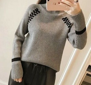 2017 A/W Ladies Design High Neck Knitted Pullover