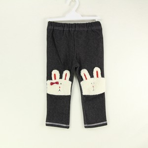 Denim Stretch Material Pants Rabbit Applique
