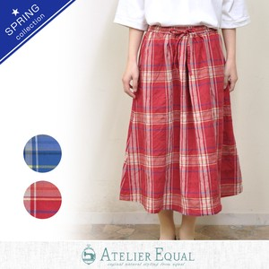 Shearing Big Checkered Waist Gather Skirt