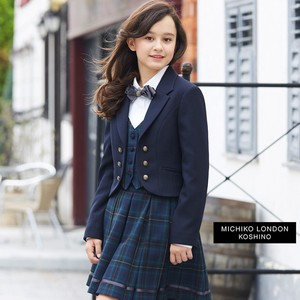 Graduate Formal Fake Jacket Blouse Checkered Pattern Skirt 3-unit Set