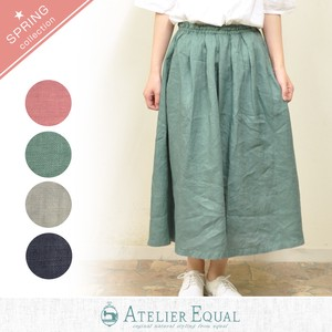 Linen Dyeing Tuck Skirt