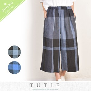 Linen Big Checkered 8/10Length Tuck wide pants