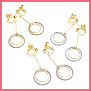 Mat Color Metal Double Ring Earring