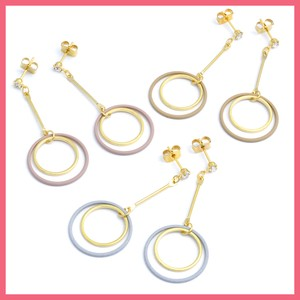 Mat Color Metal Double Ring Pierced Earring