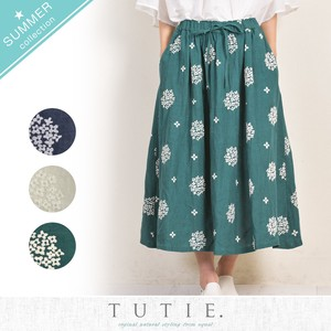 Linen Flower Dot Embroidery Gather Skirt