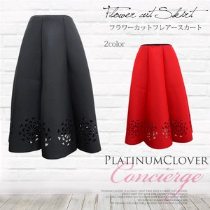 Flower Cut Flare Skirt