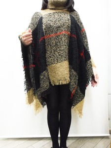 Checkered Knitted Poncho