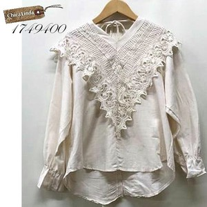 Lace Blouse Front Big Lace Behind Button V-neck