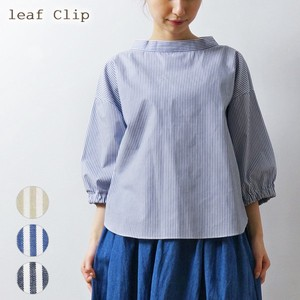 2018 S/S Stripe Stand Color Behind Blouse Natural Leisurely Cotton