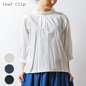 2018 S/S Lace Stand Color Gather Blouse Natural Cotton