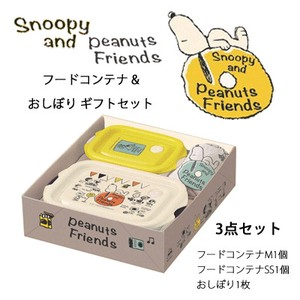 Skater Snoopy Friends Food Container Hand Towels Gift Set
