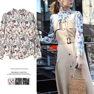 S/S Spring Flower High Neck Blouse Top