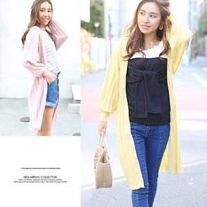 S/S Volume Sleeve Long Knitted Cardigan Robe Knitted