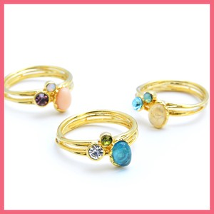 Oval Beads Bright Stone 2 Pcs Double Ring